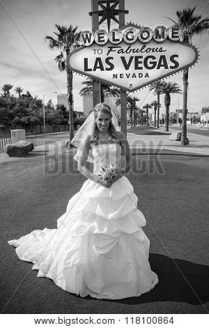 Beautiful Bride at Vegas Sign