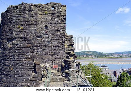 Historical town wall and tower in Conwy