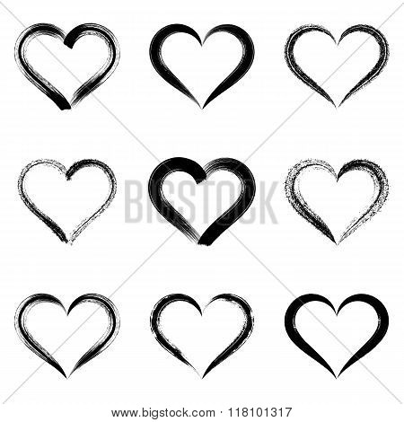 Black Vector Brush Strokes Hearts