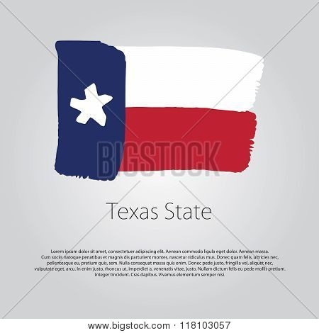 Texas State Flag With Colored Hand Drawn Lines In Vector Format