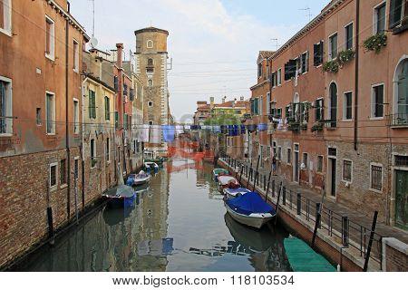 Venice, Italy - September 04, 2012:  Rio De Sant'ana In Sestiere Castello With Boats And Colorful Fa