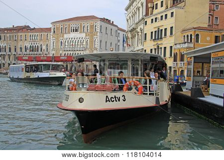 Venice, Italy - September 04, 2012: Grand Canal With Vaporetto Sea Trams