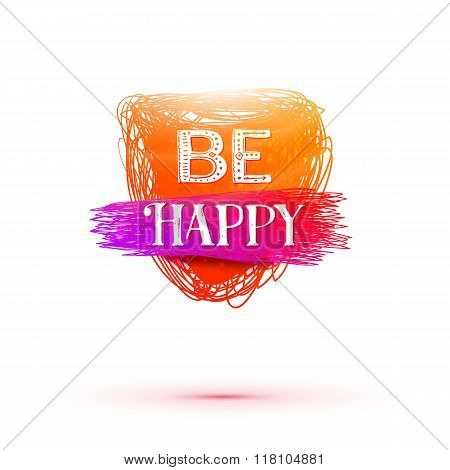 Be Happy lettering tag