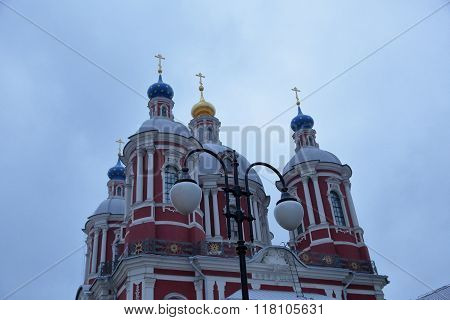 Orthodox church in the center of Moscow in cloudy weather