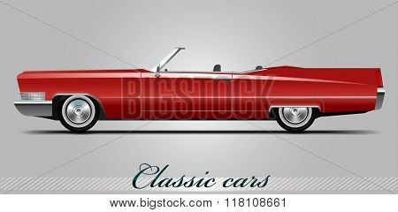 NOVI SAD, SERBIA - JANUARY 11, 2016: Vector illustration of NOVI SAD, SERBIA - JANUARY 11, 2016: Vector illustration of Cadillac DeVille 1967,  eps10, vector, illustrative editorial - stock vector