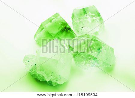 Emerald colored quartz crystals