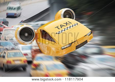 High-speed Taxicab Flying Over Traffic Jams