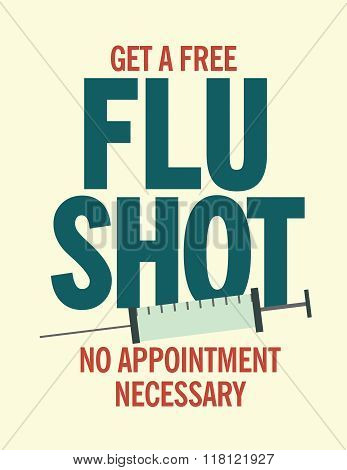 Get a free flu shot health care poster with syringe