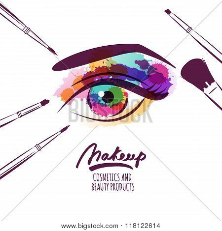 Vector Watercolor Hand Drawn Illustration Of Colorful Womens Eye And Makeup Brushes