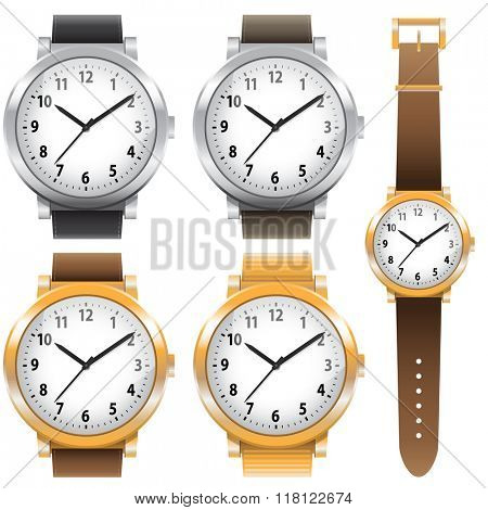 Gold and chrome watches, classic design expensive watch set. Vector illustration