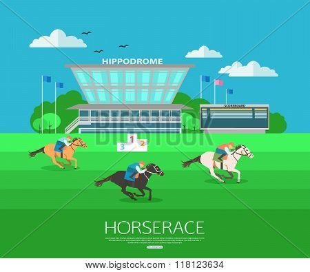 Horserace backgroung with place for text. Flat style design.