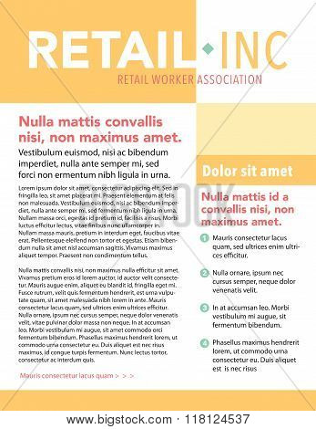 Retail workers association page layout newsletter template