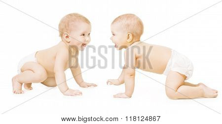 Baby In Diaper Crawling on White Kids in Nappy Creeping One Year Old