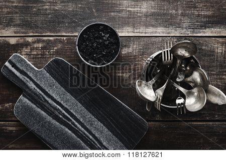 Stone Desk, Black Salt, Kitchen Wares On Table