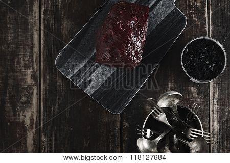 Whale Steak.marble Desk, Salt, Kitchen Wares On Table
