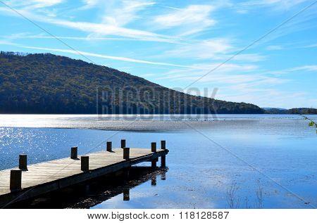 Dock extending over lake