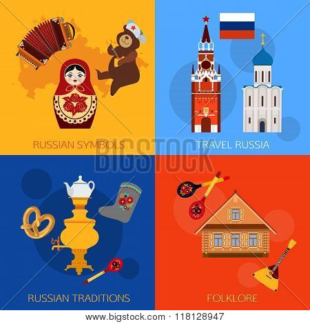 Set of Russia travel compositions with place for text. Russian symbols, travel Russia, Russian tradi