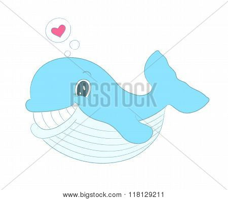 Vector Whale With Heart, Sea Themed Illustration.