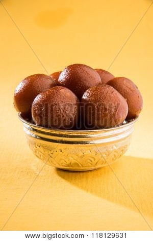 sweet gulab jamun indian dessert, indian sweet, asian sweet dish gulab jamun served in a silver bowl