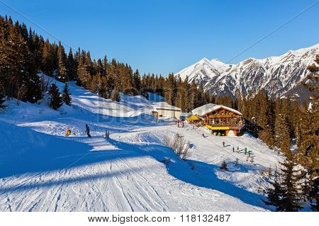 Cafe at Mountains ski resort Bad Gastein Austria - nature and sport background