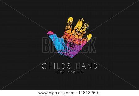 Hand logo design. Childs hand logo. Colorful logo. Rainbow logotype. Grunge style. Creative logo