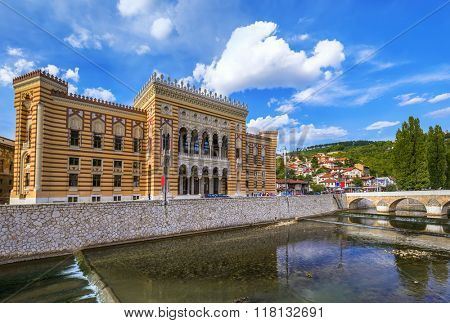 National library in Sarajevo - Bosnia and Herzegovina - architecture travel background