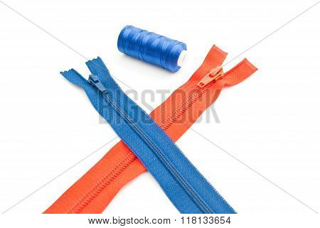 Colorful Zippers And Tread