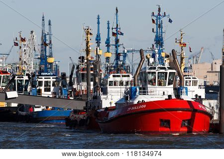 Tugboats in the port of Hamburg with cranes in the background