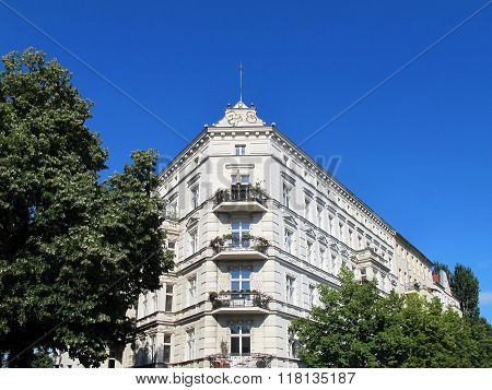 beautiful facade of an old house in Berlin Kreuzberg