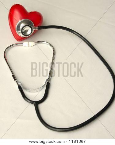 Stethoscope Examines A Heart