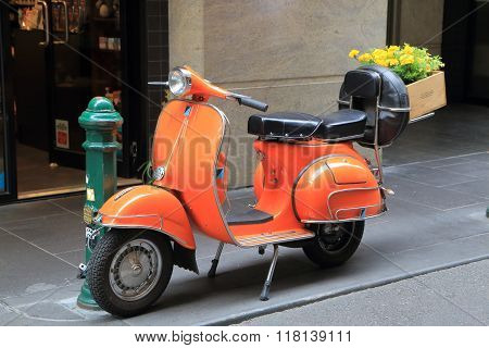 Orange scooter motorbike