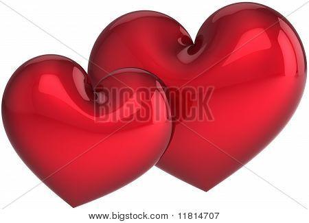 Red hearts couple harmony