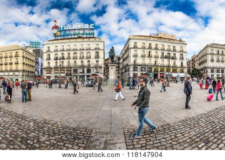 MADRID, SPAIN - OCTOBER 16, 2014: Crowds at Puerta del Sol Plaza.