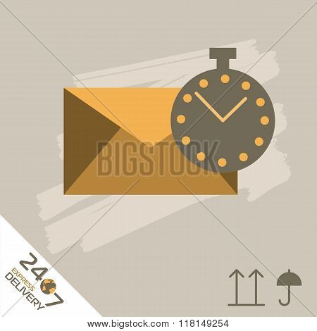 Mail express delivery icon. Mail delivery. Order service. Symbol of mail delivery. Express delivery vector icon. Delivery goods, mail shipping service. Express delivery sign. Mail delivery sign. Express delivery illustration. Mail delivery service icon.