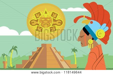 Pyramid Maya, chief of the tribe Maya. Vector illustration Mayan. Mexican culture. Legend of pyramid maya. Mexican landmarks concept.