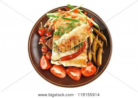 traditional italian cannelloni with tomato cherry and hot peppers