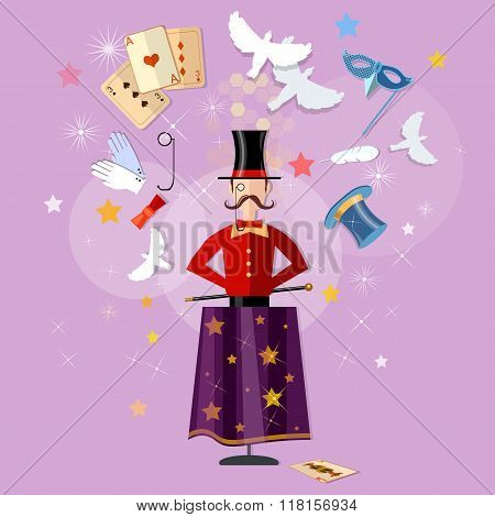 Magician Circus Shows Tricks Focuses Magical Performance Vector Illustration