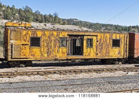 Old Railroad Car On A Siding