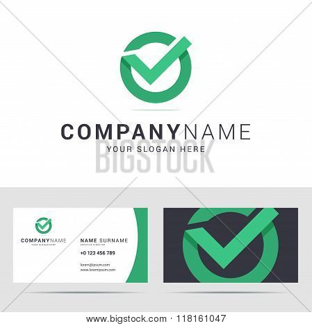 Logo and business card template in flat style.