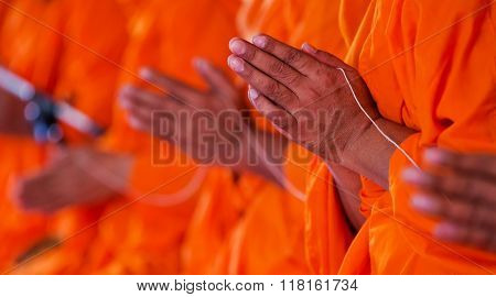 pray Put the palms of the hands together in salute monks thailand