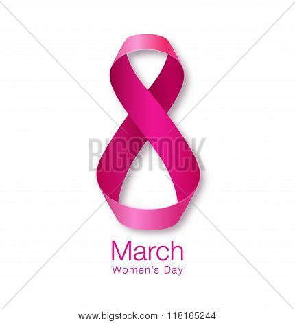 Womens Day Paper Design. Realistic Ribbon March 8 greeting card.