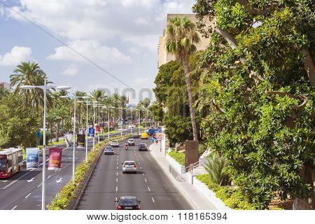 View Of Highways With Modern Pedestrian Bridge. Alicante, Spain