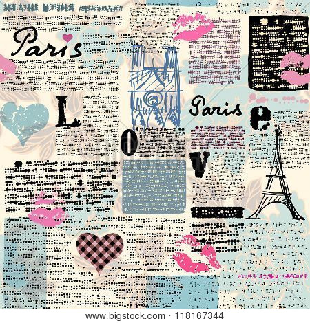 Newspaper Paris with a kisses