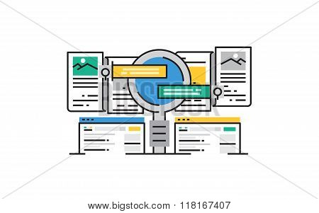 Flat line design vector illustration concept of Search Engine, Search Result, Seo. Design for Websit