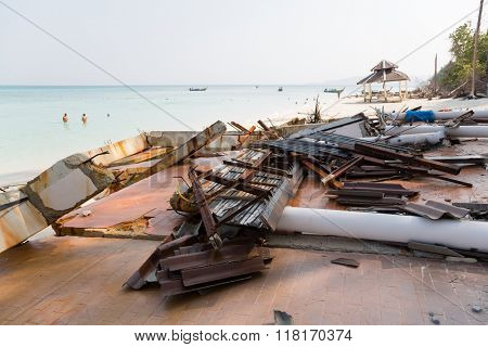 Destroyed after the tsunami architectural structures on the island in the Andaman Sea, Thailand.