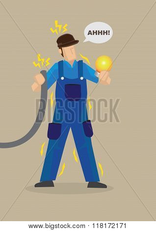 Electric Shock Occupational Hazard Vector Illustration