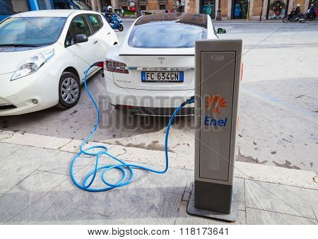 Tesla Model S Car Charging At Public Recharging Station