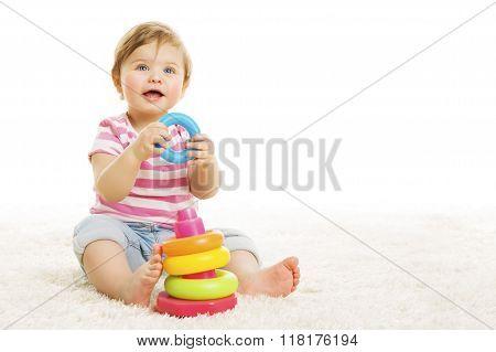 Kid Playing Toys Blocks, Sitting Baby Play Toy, White