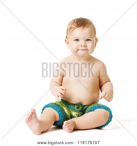 Sitting Toddler Kid On White, Infant Baby Boy, One Year Old