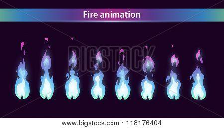 Blue fire animation sprites